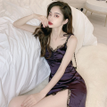 Dress Summer 2021 Purple, black S, M Short skirt singleton  Sleeveless commute High waist Solid color One pace skirt camisole 18-24 years old Type A Korean version Lace four point one five