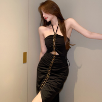 Dress Summer 2021 White, black Average size Mid length dress singleton  Sleeveless commute High waist Solid color One pace skirt Hanging neck style 18-24 years old Type A Retro Hollows, chains, folds Four point eight