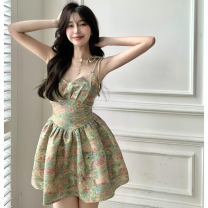 Dress Summer 2021 Mixed color of oil painting S, M Short skirt singleton  Sleeveless commute High waist Decor Socket A-line skirt camisole 18-24 years old Type A Korean version Frenulum four point one two 31% (inclusive) - 50% (inclusive) other