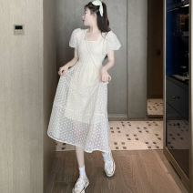 Dress Summer 2021 Apricot Average size Mid length dress singleton  Short sleeve commute square neck High waist Solid color A-line skirt puff sleeve 18-24 years old Type A Retro Hollowed out, open back, bandage, lace Four point eight