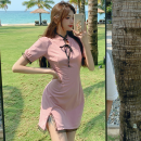Dress Summer 2021 Pink S, M Short skirt singleton  Short sleeve commute High waist other One pace skirt puff sleeve 18-24 years old Type A Korean version Lace Four point seven