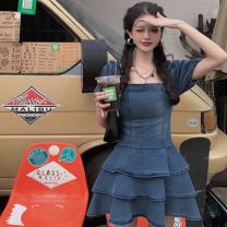 Dress Summer 2021 Picture color S, M Short skirt singleton  Short sleeve commute square neck High waist Solid color Cake skirt puff sleeve 18-24 years old Type A Korean version Bare back, bandage Four point four