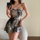 Dress Summer 2021 Ink tie dyeing S, M Short skirt singleton  Sleeveless commute High waist other A-line skirt camisole 18-24 years old Type A Korean version Open back, tie dye four point one zero More than 95%