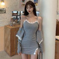 Fashion suit Summer 2021 Average size Grey skirt, grey coat, black skirt, black coat 18-25 years old three point one zero
