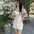 Dress Summer 2021 White, black S, M Short skirt singleton  Short sleeve commute One word collar High waist Solid color One pace skirt routine 18-24 years old Type A Korean version Lace, lace Four point nine More than 95%