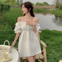 Dress Summer 2021 white S, M Short skirt singleton  Short sleeve commute One word collar High waist Solid color Socket One pace skirt puff sleeve camisole 18-24 years old Type A Korean version four point one two
