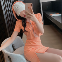 Fashion suit Summer 2021 S, M Orange pink top, black top, white top, orange pink skirt, black skirt, white skirt 18-25 years old Four point three 81% (inclusive) - 90% (inclusive)