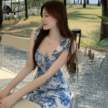 Dress Summer 2021 blue and white porcelain S, M Mid length dress singleton  Sleeveless commute One word collar High waist Broken flowers other camisole 18-24 years old Type A Retro backless Four point eight 81% (inclusive) - 90% (inclusive)