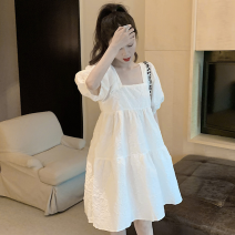 Dress Summer 2021 White, blue Average size Short skirt singleton  Short sleeve commute square neck High waist Solid color Socket puff sleeve 18-24 years old Type A Retro four point one five 71% (inclusive) - 80% (inclusive) other cotton