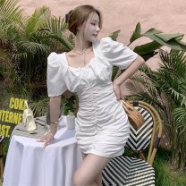 Dress Summer 2021 White, black S,M,L Short skirt singleton  Short sleeve commute square neck High waist Solid color Socket One pace skirt puff sleeve 18-24 years old Type A Korean version fold four point one one 31% (inclusive) - 50% (inclusive) other other