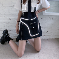 skirt Summer 2021 S,M,L black Short skirt commute High waist skirt Solid color Type A 18-24 years old four point one five 30% and below other zipper Korean version