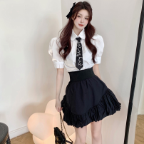 Fashion suit Summer 2021 S. M, average size Shirt with tie, black skirt 18-25 years old Four point one 51% (inclusive) - 70% (inclusive)