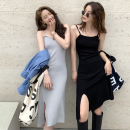 Dress Summer 2021 Gray, white, blue, black Average size Mid length dress singleton  Sleeveless commute High waist Solid color Socket One pace skirt Others 18-24 years old Type A Korean version three point three one 91% (inclusive) - 95% (inclusive) other cotton