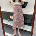 skirt Summer 2021 Average size Black flower, colorful flower Mid length dress commute High waist A-line skirt Broken flowers Type A 18-24 years old four point one zero 30% and below Retro