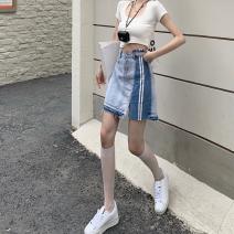 skirt Summer 2021 S,M,L wathet Short skirt commute High waist Denim skirt other Type A 18-24 years old three point three one 30% and below Button Korean version