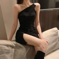 Dress Summer 2021 black S,M,L Short skirt singleton  commute High waist Solid color Socket One pace skirt 18-24 years old Type A Korean version three point three zero