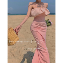 Dress Summer 2021 Pink S, M longuette singleton  Sleeveless commute High waist other One pace skirt Breast wrapping 18-24 years old Type A Korean version Lotus leaf edge Four point nine 31% (inclusive) - 50% (inclusive)