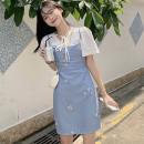 Fashion suit Summer 2021 Average size White shirt, suspender skirt 18-25 years old Four point six