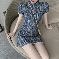Dress Summer 2021 Picture color S, M Short skirt singleton  Short sleeve commute stand collar High waist Socket A-line skirt 18-24 years old Type A Korean version Four point four