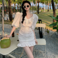 Dress Summer 2021 Sky blue, white S,M,L Short skirt singleton  elbow sleeve commute V-neck High waist Solid color Socket A-line skirt puff sleeve 18-24 years old Type A Korean version fold Four point four polyester fiber