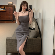 Dress Summer 2021 Gray, black Average size Mid length dress singleton  commute One word collar High waist Solid color Socket One pace skirt 18-24 years old Type A Korean version four point one four