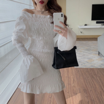 Dress Summer 2021 Black one shoulder skirt, white one shoulder skirt Average size Short skirt singleton  Long sleeves commute One word collar High waist Solid color One pace skirt pagoda sleeve 18-24 years old Type A Korean version fold Four point two 31% (inclusive) - 50% (inclusive)