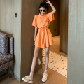 Dress Summer 2021 Orange, white Average size Short skirt singleton  Short sleeve commute Polo collar High waist Solid color Socket A-line skirt routine 18-24 years old Type A Retro Lace up, button Four point eight 51% (inclusive) - 70% (inclusive)