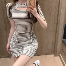 Dress Summer 2021 black S,M,L Short skirt singleton  Short sleeve commute Crew neck High waist stripe One pace skirt routine 18-24 years old Type A Korean version Hollowing out three point three one 91% (inclusive) - 95% (inclusive)