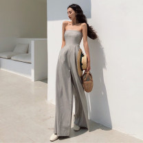 Casual pants grey S, M Spring 2021 trousers Jumpsuit High waist commute 18-24 years old Three point seven