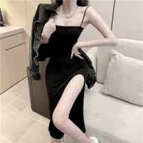 Dress Summer 2021 black S,M,L Mid length dress singleton  Sleeveless commute One word collar High waist Solid color Socket One pace skirt camisole 18-24 years old Type A Korean version four point one zero