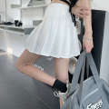 skirt Summer 2021 S,M,L White, black, navy Short skirt commute High waist Pleated skirt Solid color 18-24 years old four point one four 30% and below fold Korean version