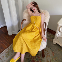 Dress Summer 2021 Yellow (with bag), black (with bag) Average size longuette singleton  Sleeveless commute High waist Solid color Socket A-line skirt 18-24 years old Type A Korean version Four point four 81% (inclusive) - 90% (inclusive) brocade nylon