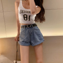 Jeans Spring 2021 Denim blue S,M,L shorts High waist Wide legged trousers 18-24 years old Wash and make old Cotton denim light colour four point one five