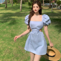 Dress Summer 2021 Cream white, baby blue Average size Short skirt singleton  Short sleeve commute square neck High waist Solid color A-line skirt puff sleeve 18-24 years old Type A Retro Hollow out, open back, bandage Four point nine