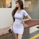 Dress Summer 2021 White, black Average size Short skirt singleton  Short sleeve commute Crew neck High waist Solid color Socket One pace skirt routine 18-24 years old Type H Korean version Four point two More than 95%