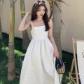 Dress Summer 2021 White, black S, M longuette singleton  Sleeveless commute One word collar High waist Solid color Socket A-line skirt camisole 18-24 years old Type A Korean version four point one zero