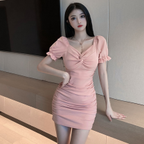 Dress Summer 2021 Black, pink S, M Short skirt singleton  Short sleeve commute V-neck High waist Solid color Socket One pace skirt puff sleeve 18-24 years old Type A Korean version fold four point one zero 31% (inclusive) - 50% (inclusive) other other