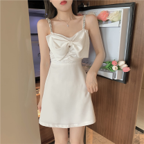 Dress Summer 2021 white S, M Short skirt singleton  Sleeveless commute High waist Solid color Socket A-line skirt camisole 18-24 years old Type A Korean version Bow, open back Four point two