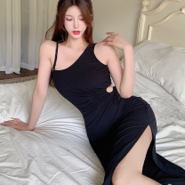Dress Summer 2021 black Average size Short skirt singleton  Sleeveless commute High waist Solid color Socket One pace skirt camisole 18-24 years old Type A Korean version Hollowed out, pleated, button Four point eight polyester fiber