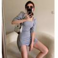 Dress Summer 2021 Gray, black S, M Short skirt singleton  Short sleeve commute square neck High waist Solid color Socket A-line skirt 18-24 years old Type A Korean version three point three one