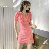Dress Summer 2021 White, pink Average size Short skirt singleton  Short sleeve commute V-neck High waist Solid color Socket A-line skirt routine 18-24 years old Type A Korean version Pleated, zipper three point three one polyester fiber