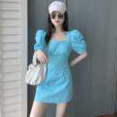 Dress Summer 2021 White, blue S, M Short skirt singleton  Short sleeve commute square neck High waist Solid color Socket One pace skirt puff sleeve 18-24 years old Type A Korean version four point one two