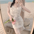 Dress Summer 2021 Picture color S,M,L Short skirt singleton  Short sleeve commute High waist other Socket A-line skirt routine 18-24 years old Type A Korean version Gauze three point three one