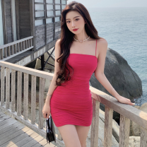 Dress Summer 2021 Picture color Average size Short skirt singleton  Sleeveless commute High waist Solid color Socket One pace skirt camisole 18-24 years old Type A Korean version Open back, fold Four point four
