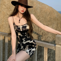 Dress Summer 2021 black S,M,L Short skirt singleton  Sleeveless commute High waist Socket One pace skirt camisole 18-24 years old Type A Korean version Four point seven 91% (inclusive) - 95% (inclusive) polyester fiber