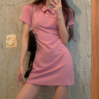 Dress Summer 2021 Average size Short skirt singleton  Short sleeve commute Polo collar Solid color routine Others 18-24 years old Type A Korean version Button four point two zero
