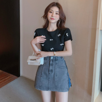 Fashion suit Summer 2021 S. M, l, average size White one size, black one size, denim skirt 18-25 years old three point two six 31% (inclusive) - 50% (inclusive) cotton