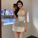 Dress Summer 2021 Chain dress S, M Short skirt singleton  commute V-neck High waist Solid color zipper One pace skirt Hanging neck style 18-24 years old Type A Korean version Chain, button, zipper four point one four More than 95% other cotton