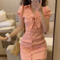 Dress Summer 2021 White, black, pink S, M Short skirt singleton  Short sleeve commute High waist Solid color One pace skirt puff sleeve 18-24 years old Type A Korean version Bow, button Four point four