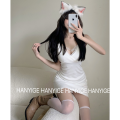 Dress Summer 2021 White, black Average size Short skirt singleton  Sleeveless commute V-neck High waist Solid color One pace skirt camisole 18-24 years old Type A Korean version Lace Four point six 81% (inclusive) - 90% (inclusive)